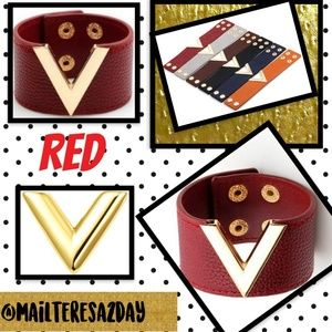 Jewelry - NEW ❤️RED ❤️ Leather Wide Metal 'V' Wristband Cuff